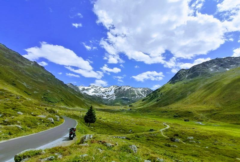 Dischmatal: Lonesome rider approaching the Alp Dürrboden