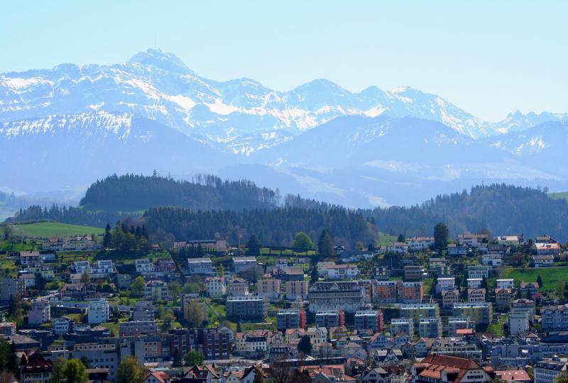 Herisau, the capital of Appenzell Ausserrhoden in front of the Säntis, the hallmark of the city