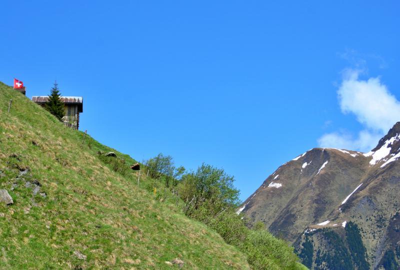 Puzzatsch - besiedelter Steilhang im Val Lumnezia